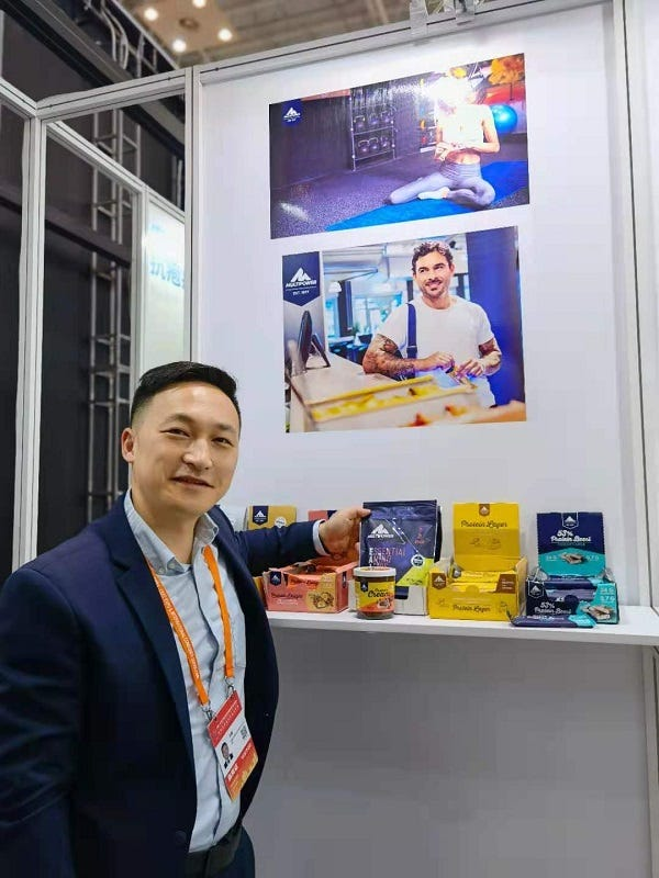 Multipower exhibited protein bars and protein cream products in Zhejiang